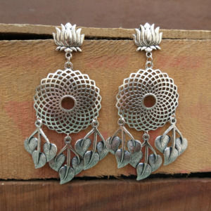 Adorable Oxidized Silver Lotus Earring for Pre-Wedding