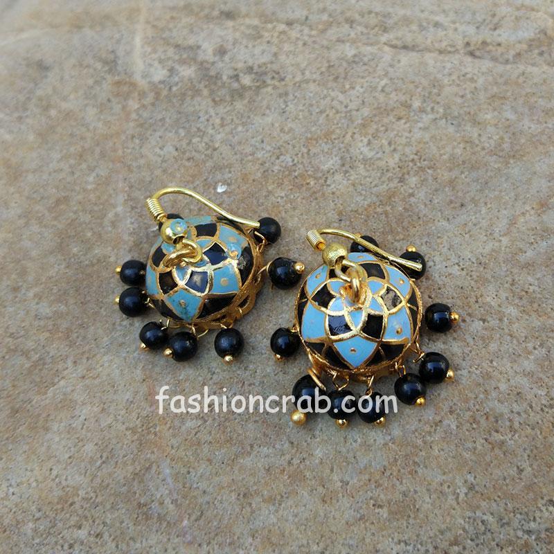 Blue Black Small Jhumka Earrings