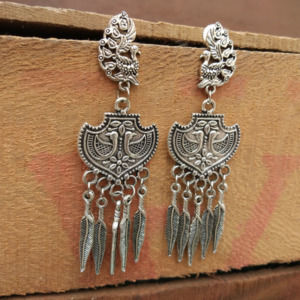Divine Oxidized Silver Peacock Earring