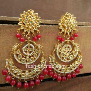 Gorgeous Maroon Pearl Kundan Chandbali Earring