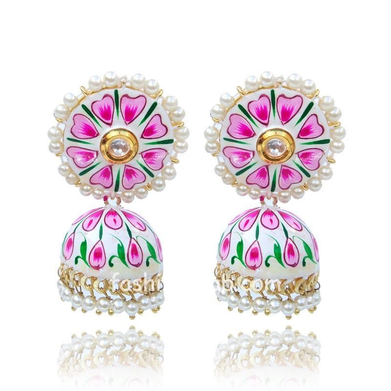 Hand Painted Earrings with Pearl Drop