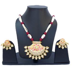 Hand Painted White Kundan Necklace Set