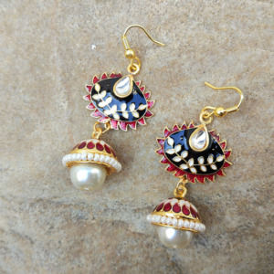 Kundan Meenakari Earring with Pearl Drop