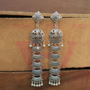 Lightweight Long Oxidized Silver Earring