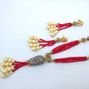 Maroon Beads Necklace Set
