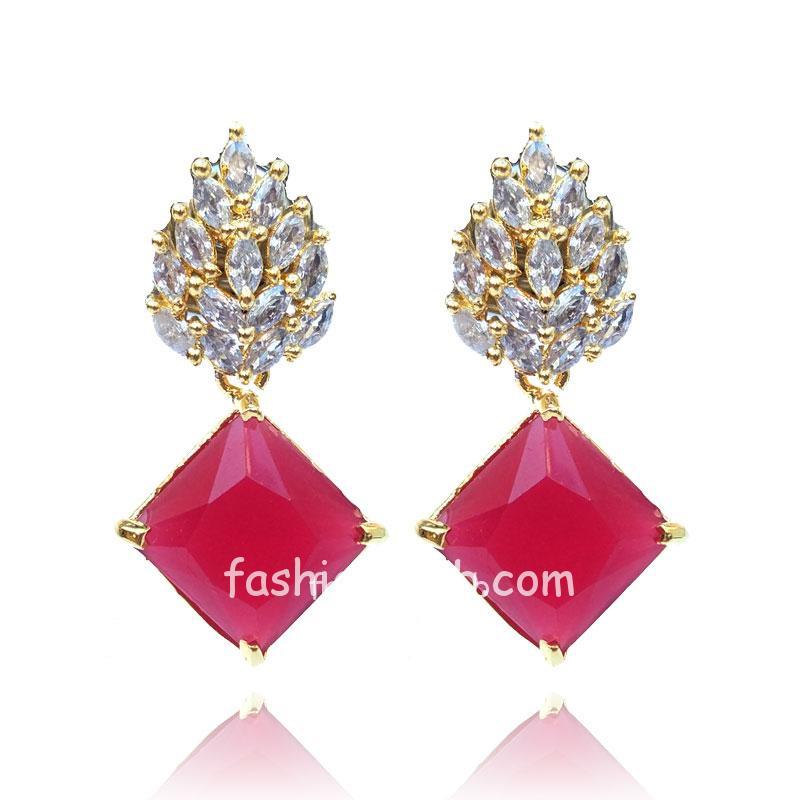 Maroon Stone Crystal Earrings