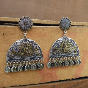 Peacock Embellished Ethnic Dual Tone Earring