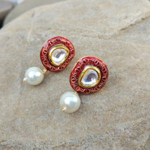 Pearl Kundan Stud Earrings for Women