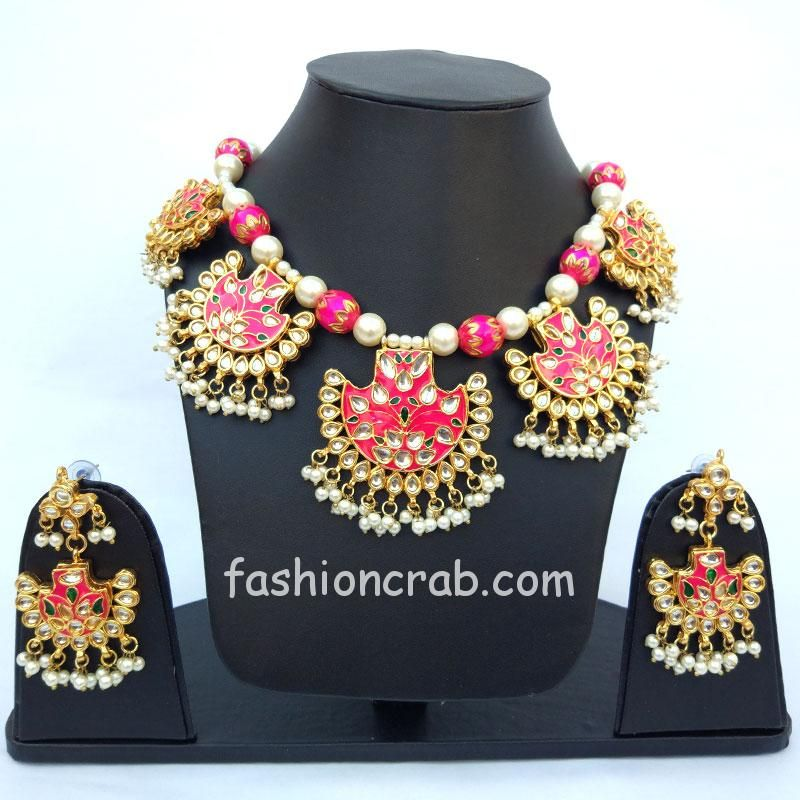 Pink Pearl Necklace Set for Women