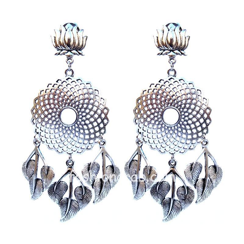 Adorable Oxidized Silver Lotus Earring for Pre-Wedding
