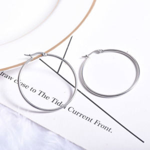 Big Silver Hoop Earring