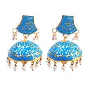Blue Meenakari Traditional Jhumki Earring