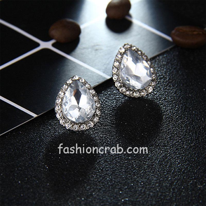 Cubic Zircon Crystal Stud Earring