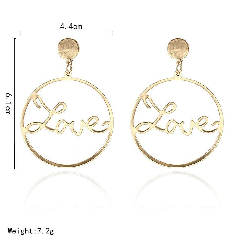 Gold Love Hoop Earring for Girlfriend