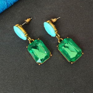 Green Color Girls Fashion Earrings