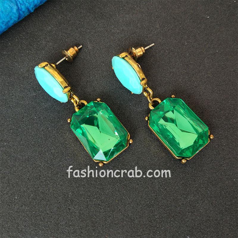 Green Color Girls Fashion Earrings