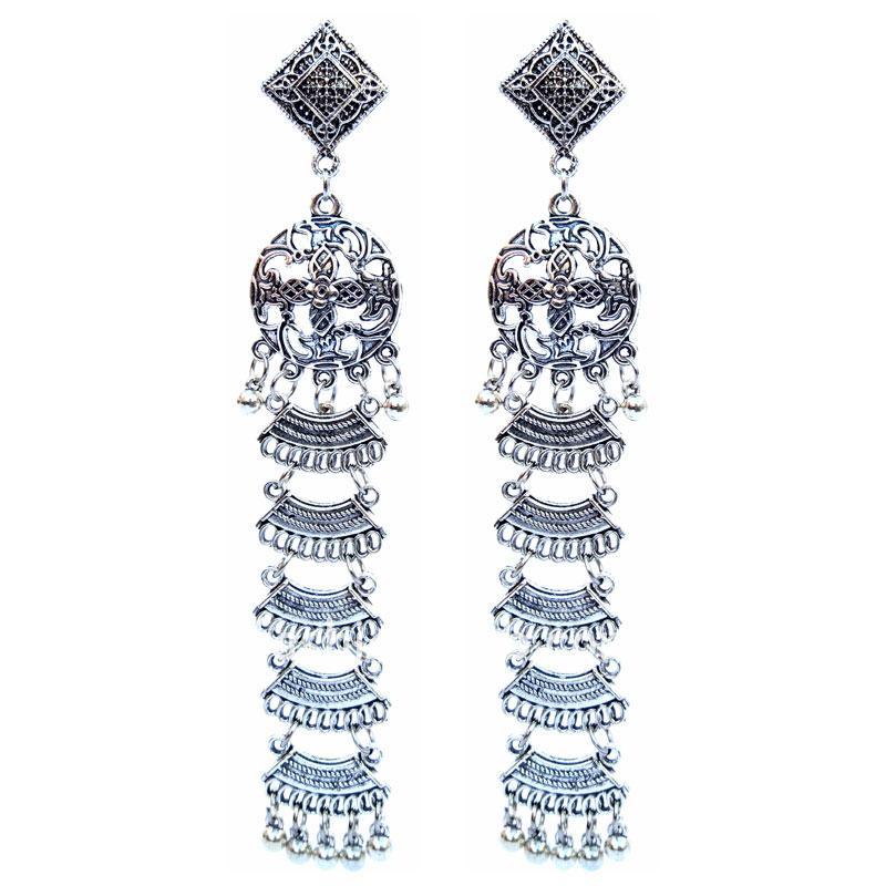 Lightweight Long Oxidized Silver Earring