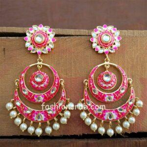 Pink Meenakari Chandbali Earrings