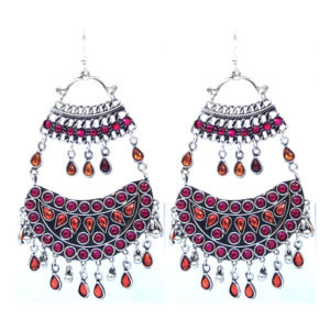 Pink Orange Oxidized Earrings for Women