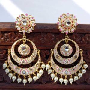 White Meenakari Chandbali Earring