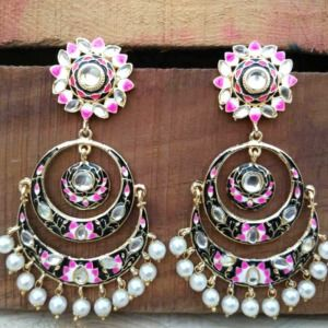 Black Meenakari Chandbali Earring