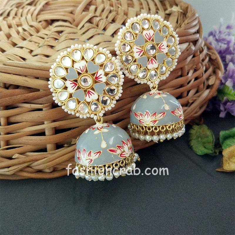 Floral Hand Painted Meenakari Grey Jhumka Earring