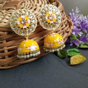 Floral Hand Painted Meenakari Yellow Jhumka Earring