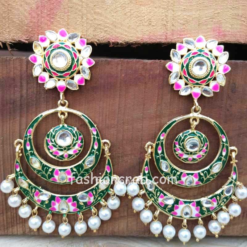 Green Meenakari Chandbali Earring