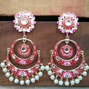 Maroon Meenakari Chandbali Earring