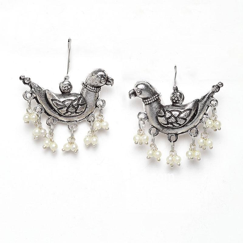 Oxidized Silver Bird Earring