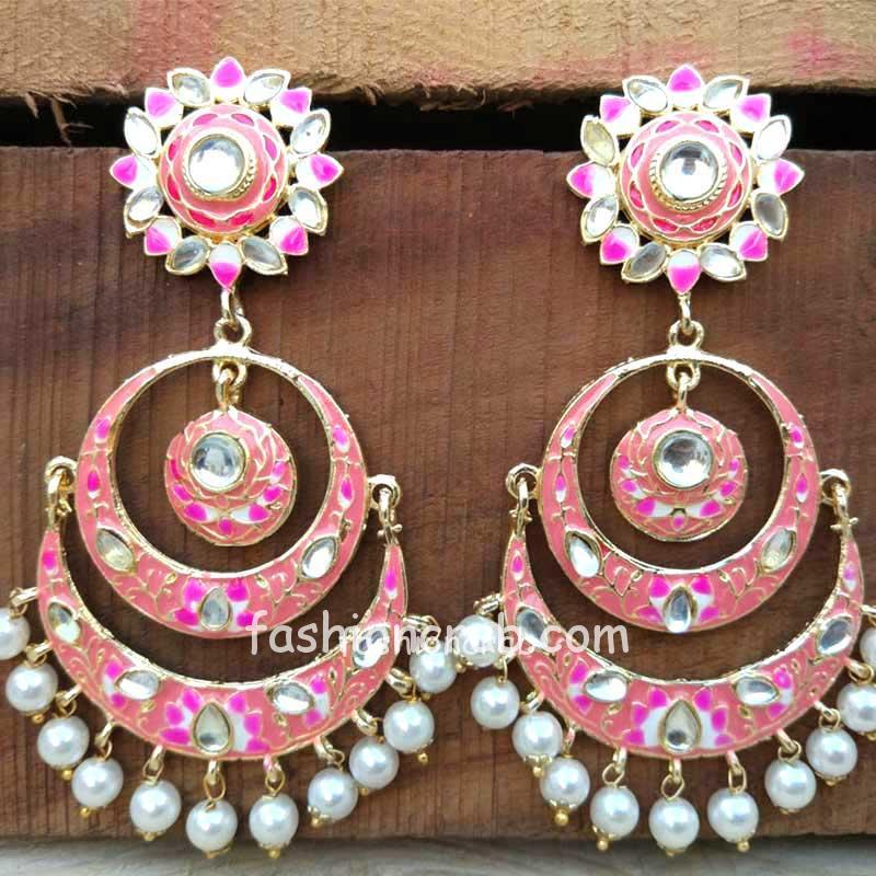 Peach Color Meenakari Chandbali Earring
