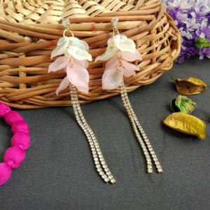 Baby Pink Flower Tassel Earrings