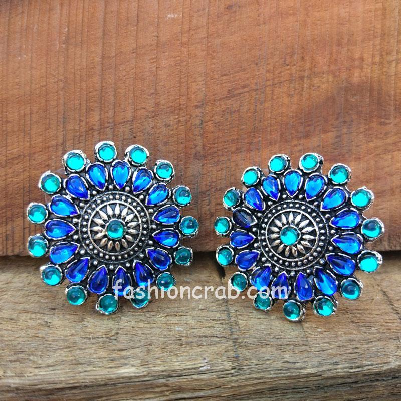 Blue Crystal Stud Earring