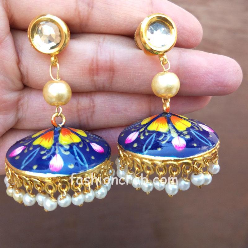 Blue Kundan Meenakari Jhumka Earring
