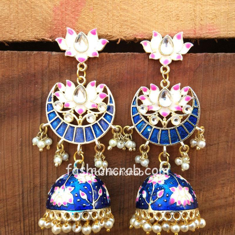 Blue Meenakari Jhumka Earring for Girls