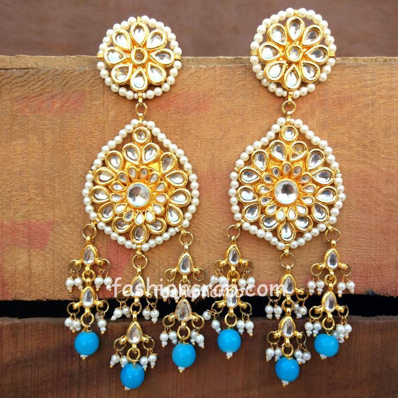 Blue Pearl Kundan Earrings for Saree