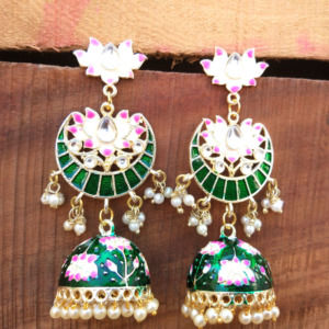 Green Meenakari Jhumka Earring for Girls
