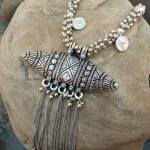 Long Oxidised Silver Necklace for Saree