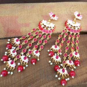 Maroon Meenakari Lotus Earrings
