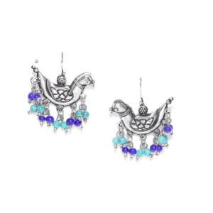 Oxidized Silver Blue Pearl Earring