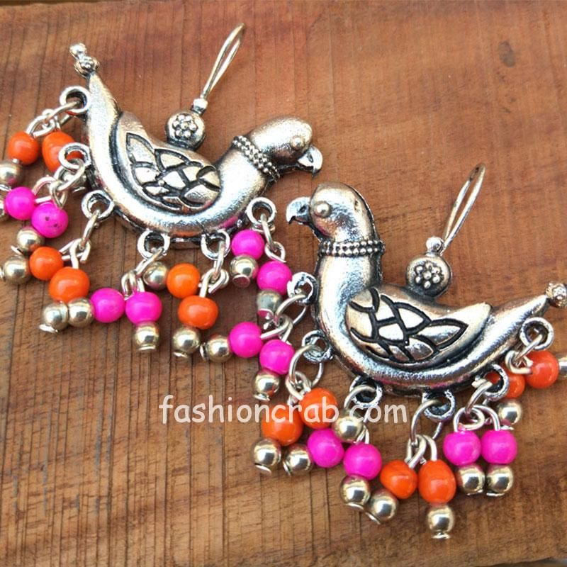 Oxidized Silver Pink Pearl Earring