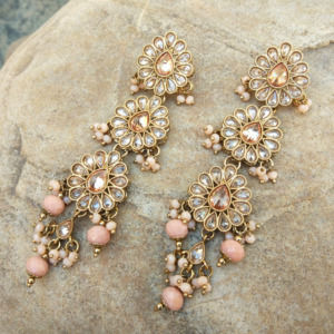 Peach Colour Traditional Earrings with Maangtikka