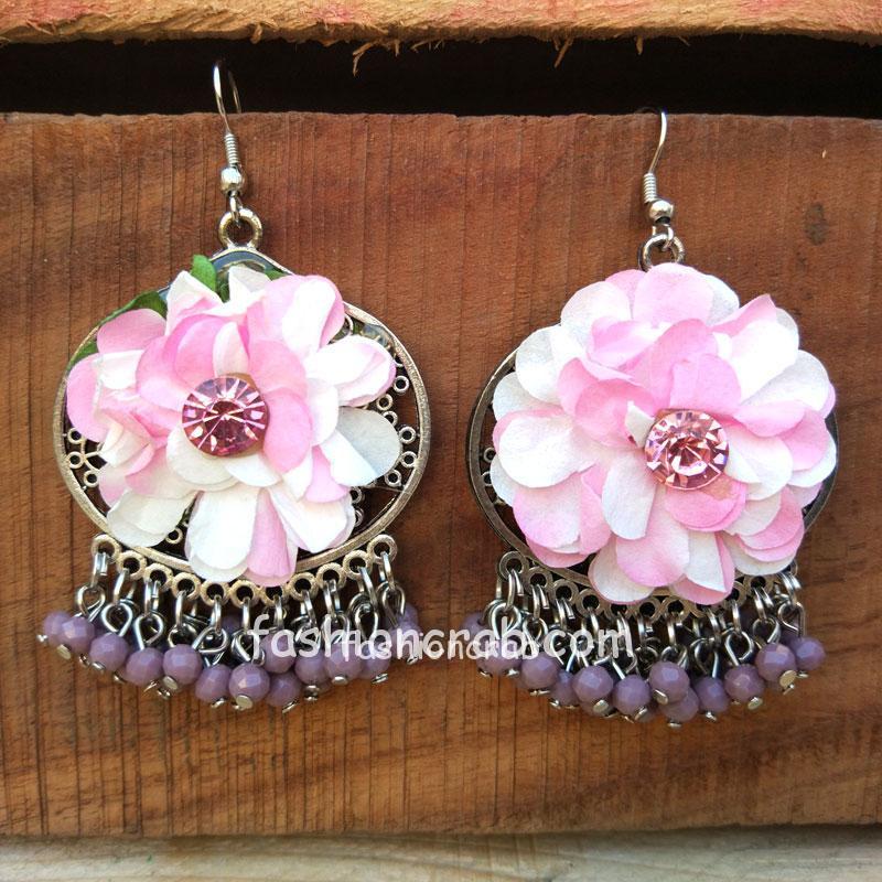 Pink Flower Pearl Earrings