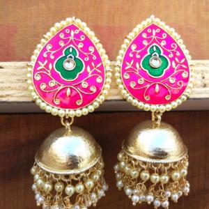 Pink Jhumka for Saree