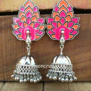 Pink Meena Peacock Oxidised Jhumka