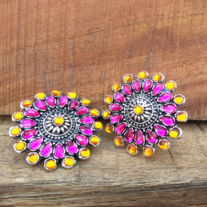 Pink Orange Crystal Stud Earrings for Saree