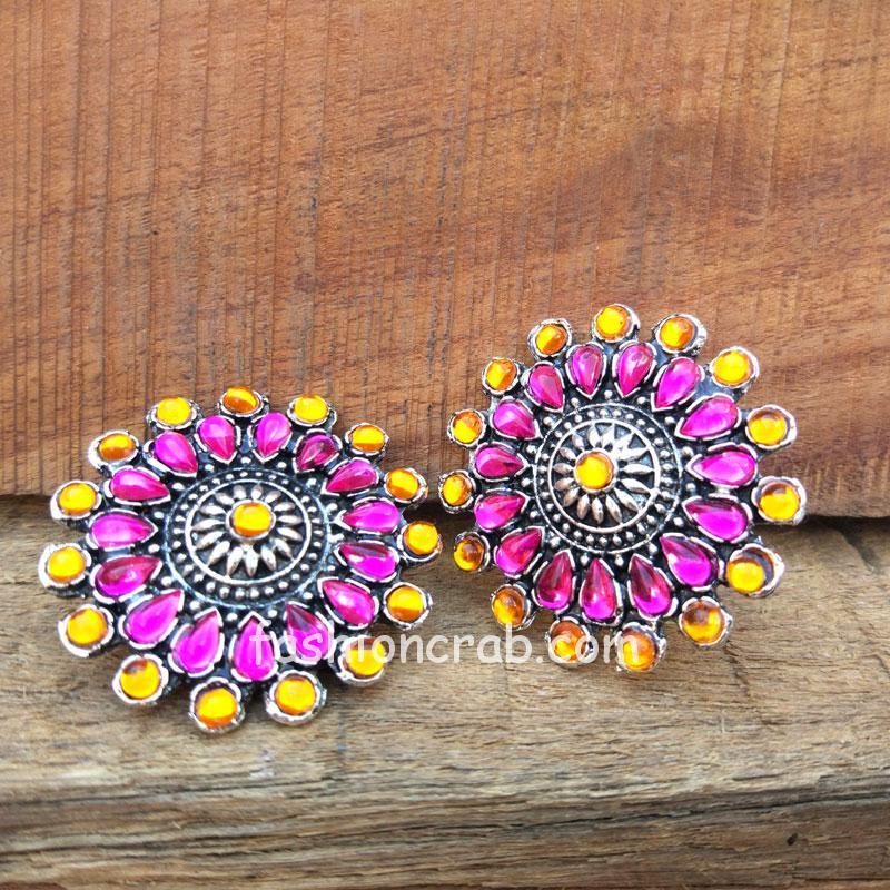 Pink Orange Crystal Stud Earrings for Saree