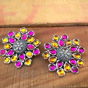 Pink Orange Ear Studs for Women