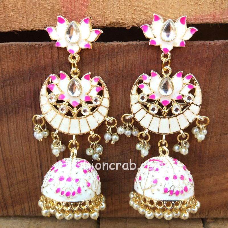 White Meenakari Jhumka Earring for Girls