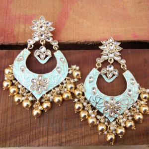 Baby Blue Chandbali Earring for Lehenga